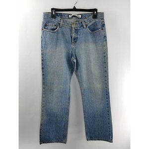Express Women's 11-12 Short Distressed Low Rise Bootcut Style Jeans Pre-Owned